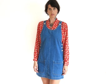 90s vintage denim pinafore jean dress// jean dress jumper// small medium