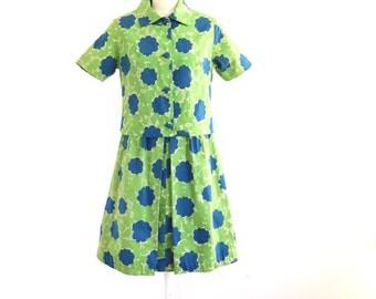 1950s green and blue dress with matching jacket// dress set// mad men house dress// medium