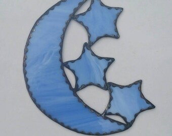 Stained Glass Moon and Stars E111