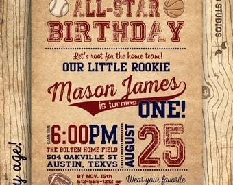Sports birthday party invitation- Sports party invite- 1st birthday invitation - vintage baseball football - DIY printable invitation