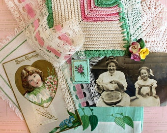 Vintage Supplies*Sweet Inspiration Kit* Cottage Chic*Postcards .. Dollies..Hand Towel..Jewelry
