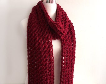 Poinsettia hand knit scarf gift or for you