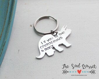 Personalized Hand Stamped Dinosaur Keychain, Triceratops Keychain, Custom Dinosaur Gift, Gifts for Him, Cretaceous, Personalized Keychain
