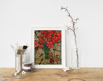 Red Flowers Art - With Dragonfly, Kitchen Home Decor, 5x7 Original Illustration Print, Flowers Artwork, Nursery Art