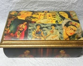 Hand crafted Decoupage Pinewood Frida Colash Portraits Jewelry Box Chest With Mirror