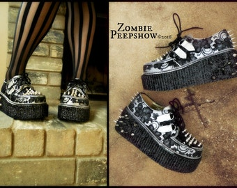 "Lace and Spike ""Bella"" Glitter Platform Creepers"