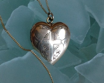 """PRICED To SELL 12K Yellow Gold Filled Heart Dason Locket w Etched Cross Crucifix Gold Filled Chain - 18"""" - Etsy Andersonhs"""