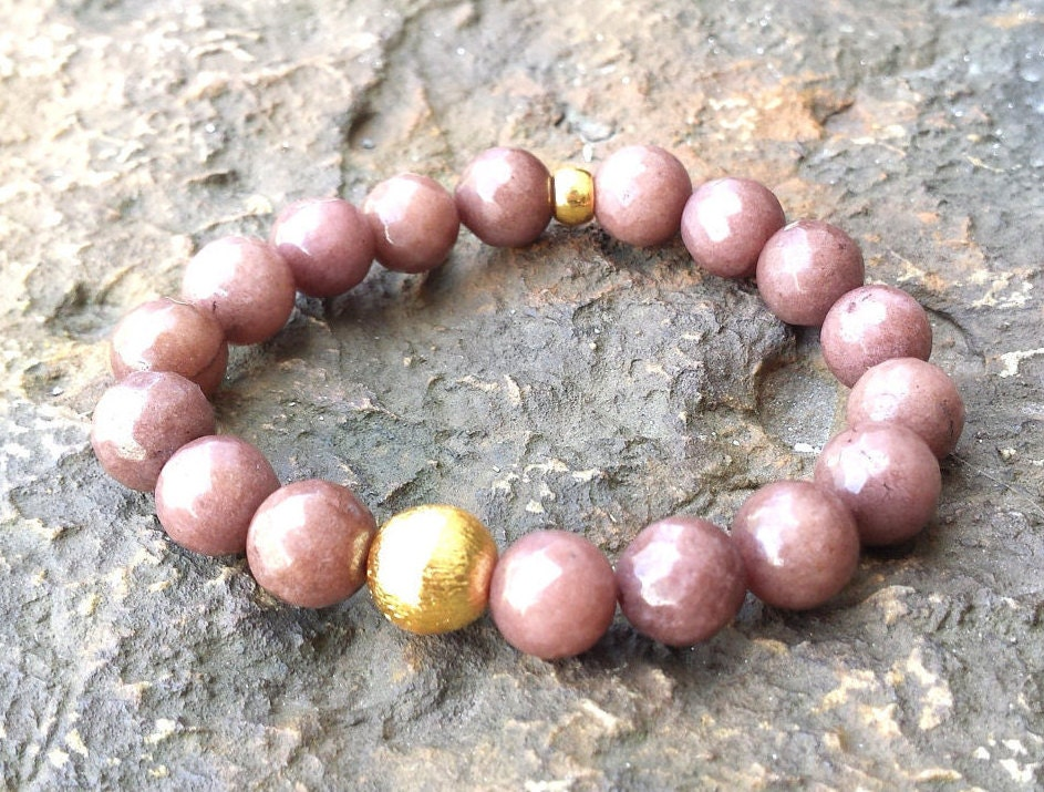 womens 10mm faceted light brown agate gemstone brushed