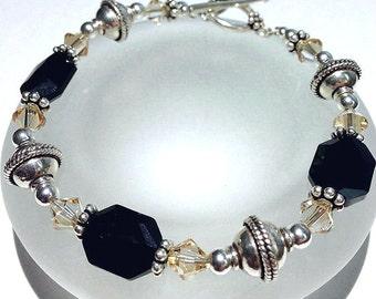 Black Swarovski Bracelet, Beaded Jewelry, Black Crystal Bracelet, Crystal Jewelry, Beaded Bracelet, Sterling Silver Jewelry