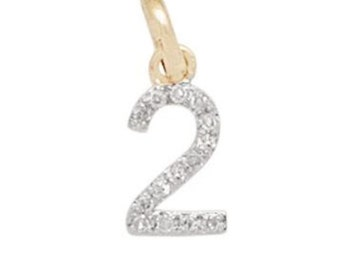 14k SOLID Gold and Diamond Number Charm - Number 2 - 8mm - Perfect!