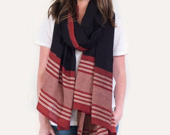 Oversized, Bold Tribal, Black and Red, Southwestern Scarf, Pareo, Sarong - Hand block printed, Natural Vegetable Dyes, Pareo, Stole, Shawl
