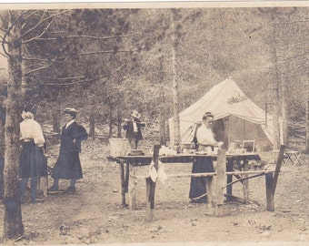 Antique Snapshot Photo of Family Camping & Rouging it Outdoors in Woods