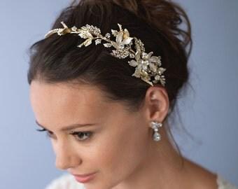 Floral Gold Bridal Headband, Bridal Hair Accessories, Gold Bridal Headpiece, Floral Wedding Headband, Gold Wedding Headband, ~TI-3280-G