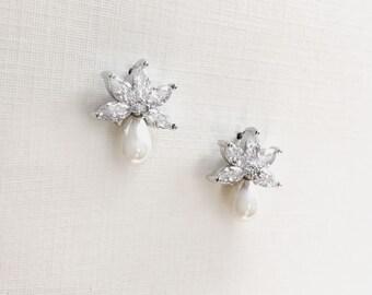 Pearl Stud Earrings, CZ Wedding Earrings, Pearl Wedding Earrings, CZ Earrings, Pearl Earrings, Earrings for Bride, Floral Earrings ~JE-4065