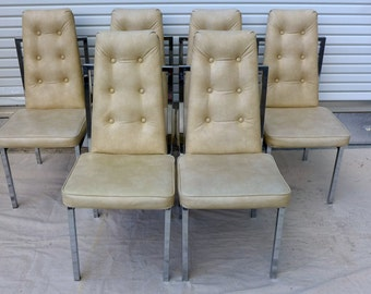 6 Tufted Cream Dining Chairs with Chrome Frames 70s Cal Style High Back Chairs Mid Century Modern Baughman Era Hollywood Regency