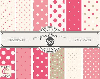 Berry-pink and off-white polka dot digital paper. Polka dot digital paper.