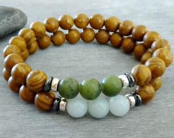 Mens bracelet bead Mens mala bracelet Zen bracelet set Mens prayer beads Spiritual bracelet Green jade Amazonite Jasper Healing & prosperity