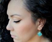 VALENTINE Sale Aqua Chalcedony Quatrefoil Earrings, Clover Earring, Blue Green Gemstone, Gold Vermeil, Aqua Chalcedony Jewelry