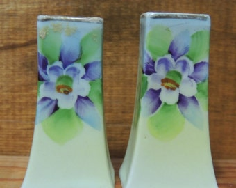 Old Porcelain Columbine Motif Salt and Pepper Shakers made in Japan