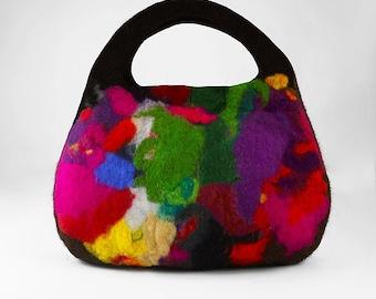 Felted Bag Multicolor Handbag Felt Purse Rainbow Bag wild Felt Nunofelt Nuno felt Silk Silkyfelted Eco handmade rainbow multicolor fairy