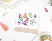 Boxed Set of 8 Christmas Cards - Christmas Card Set - Retro Christmas Cards - Holiday Greeting Card - Illustration Art