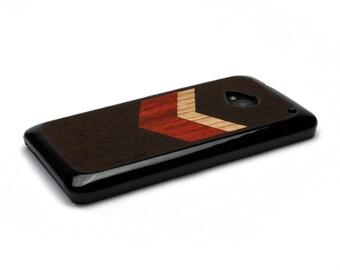 HTC One M7 Case Wood Chevron Geometric Black, HTC One Case Wood HTC One Case, Htc One Wood Case, Wood Htc One M7 Case, Htc One M7 Wood