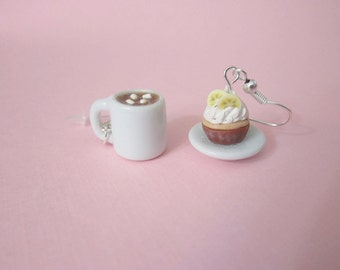 Food earrings, cupcake & hot cocoa earrings, food jewelry, mini cupcake, polymer clay food