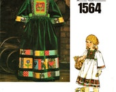 70's Boho Little Vogue Pattern 1564 Girl's Patchwork Peasant Dress Sz 6 Uncut FF Vintage Hippie Style Young Girl Couture Sewing Supplies