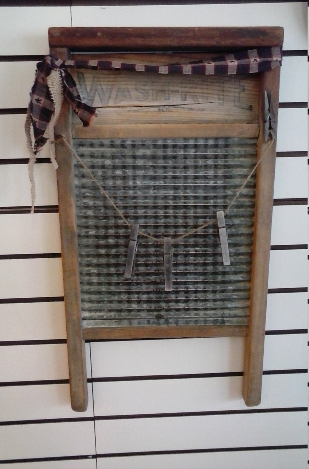 Free Shipping Primitive Wall Decor Metal Wood Washboard