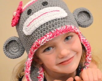 Sock Monkey Hat, Adorable Crochet Sock Monkey Hat with beaded flower, all sizes, any color