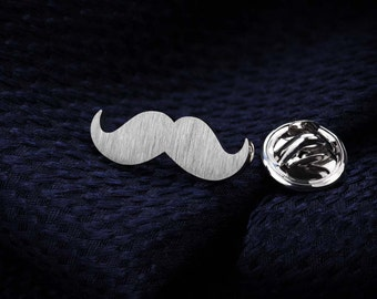 Tie Tack - Mustache tie pin - Sterling silver lapel pin - Mens accessories