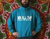 Vintage BUM Equipment Sweatshirt. Turquoise Pullover Turtleneck Sweatshirt. Retro 90s Bum Equipment Blue Sweatshirt From 1992