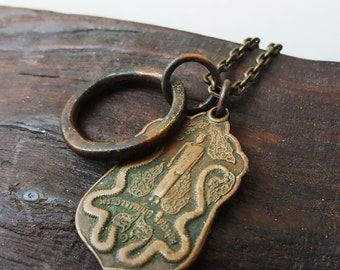 Private Collection: Vintage Bronze Monk Dragon Buddha Necklace
