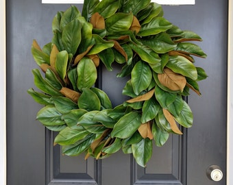 Awesome Magnolia Wreath, Rustic Wreath, Front Door Wreath, Fall Wreath, Year Round  Wreath