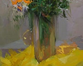 Orange Flowers Painting, Yellow And Green Canvas Art, Contemporary Still Life Painting, Modern Floral Artwork
