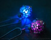 12 NEW Glow Colours! Silver Steampunk Glow in the Dark Ornate Globe Pendant Locket In Your Choice Of Colour LED or UV Glow Orb