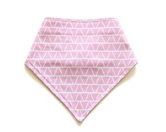Organic Bandana Bib || Triangles Bright Pink || Ouba Exclusive