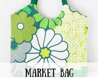 Market tote sewing pattern (PDF) instant download, bag sewing pattern, sewing pattern, tote bag sewing pattern, market bag sewing pattern