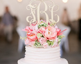 "Wedding Cake Topper, Cake Topper, Monogram Cake Topper, Custom Cake Topper,  PAINTED--5"" Wood Script with Spikes"