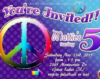 Peace Sign Birthday Party Invitation