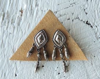 Indie Earrings/Western/Southwestern/Geometric Earrings/Diamond shaped Earrings/Silver Boho Earrings/Statement Earrings/Bohemian Earrings