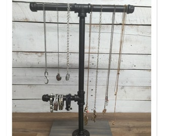 Rustic Jewelry holder-Rustic Jewelry Stand- necklace holder- jewelry display- jewelry rack- industrial jewelry stand- gifts for her