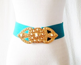 Vintage Teal and Gold A Brod Elastic Wide Belt