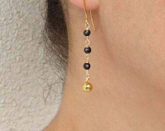 Black spinel earrings, Gold pyrite earrings, Long drop earrings