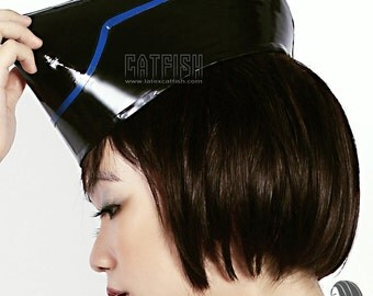 Shiny and Folded Style Rubber Latex Cap Stewardess Style Cap High Club Look