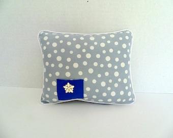 Girls Tooth Fairy Pillow, Gray and White Polka Dot Pillow, Doll Pillow , Ring Bearer Pillow