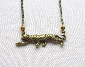 Bronze Leopard Necklace Gold Czech Glass Bead Statement Necklace Cheetah Charm Animal Jewelry