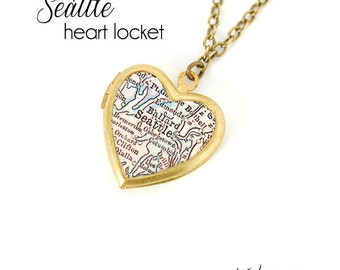 Seattle Map Necklace, Washington, Antique Map Jewelry, Vintage Small Brass Heart Locket, City Necklace, Gift for Her
