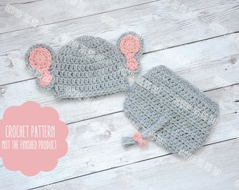 CROCHET PATTERN - Baby elephant hat and diaper cover set, newborn photo prop set, crochet baby pattern, baby hat pattern, photo prop pattern