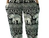 Boho Harem Pants/ Elephant pants /Hippies pants /Boho pants Yoga pant one size fits Black